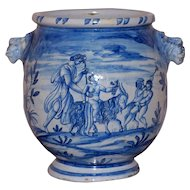 Large and Impressive Early 20th Century Italian Blue and White Vase
