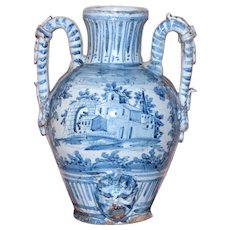 Large and Impressive Early 19th Century Italian Pottery Two-Handled Vase