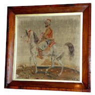 Mid-19th Century Victorian Woolwork of a Warrior on a Horse in Original Rosewood Frame