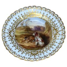 Early Victorian 19th Century Copeland and Garrett Plate with Spaniel Dog and Game in a Landscape