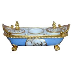 Regency Early 19th Century Porcelain Ink Stand with Depictions of Putti and Animals