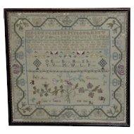 18th Century George III Silkwork Sampler Dated 1780