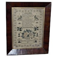 Early 19th Century William IV Silkwork Sampler with Basket of Flowers
