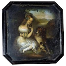 Victorian Mid-19th Century Painting of a Young Girl with Her Dog and Puppies in a Landscape