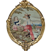 Mid-19th Century Victorian Pettipoint of Children Fishing