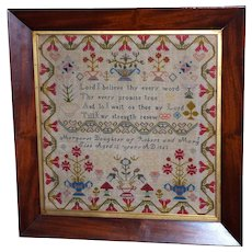 Victorian Woolwork Sampler with Red-Flowered Border Dated 1863