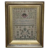 Early Victorian 19th Century Silkwork Sampler