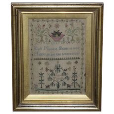 Early Victorian 19th Century Silkwork Sampler