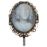 Victorian 19th Century Cameo Stick Pin