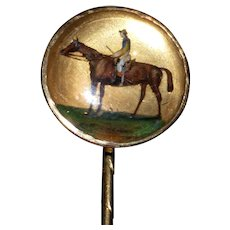 "Victorian 19th Century Essex Crystal Stickpin of the Racehorse, ""Arulo"""