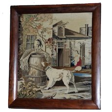 Large Victorian 19th Century Woolwork of a Dog and Cat at Home