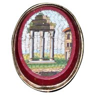 19th Century Italian Micro Mosaic Stickpin Depicting a Ruin