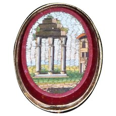 19th Century Italian Micro Mosaic Stickpin Depicting a Ruin