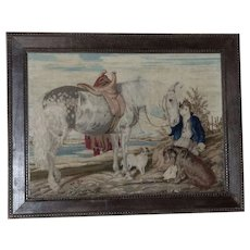 19th Century Victorian Woolwork of Boy with Horse and Dogs