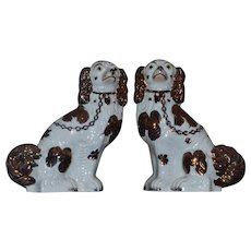Pair of Victorian 19th Century Copper Luster Staffordshire Spaniels