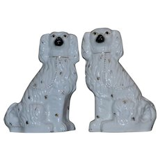 Large and Impressive Pair of Victorian 19th Century White Staffordshire Spaniels