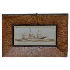 """19th Century Sepia Drawing of the British Steam/Sail Ship, """"City of Brussels"""""""