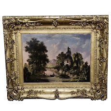 Romantic Mid-19th Century Landscape with Folly and Fishermen in Original Frame