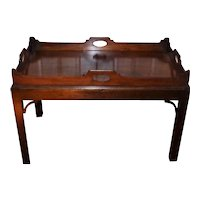 Large Late 18th Century Irish Mahogany Butler's Tray on Stand