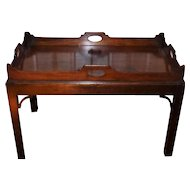 Large Late 18th Century Irish Mahogany Butler's Tray on Stand