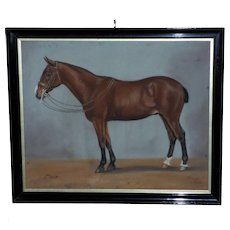 "Pastel Portrait of the Chestnut Horse, ""Max"""