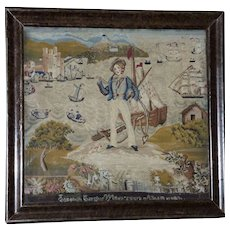 Large Victorian 19th Century Sampler with Sailor and Ships