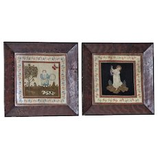 Pair of Early 19th Century Naïve Folk-Art Woolwork Pictures