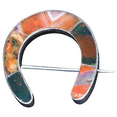 Victorian 19th Century Scottish Silver, Agate and Bloodstone Horseshoe Brooch