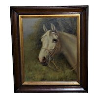 Head Portrait of a Gray Horse in Bridle, by G. Brownlow