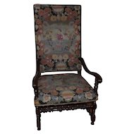 Large and Impressive 19th Century Continental Chair with Woolwork Upholstery