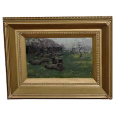 Landscape with Sheep in a Grassy Field by Sidney Pike