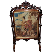 Large and Impressive Early Victorian Walnut Fire Screen
