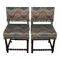 Pair of 19th Century Barley Twist Walnut English Country Side Chairs