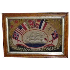 Mid-19th Victorian Woolwork Picture of a Three-Masted Ship Surrounded by Flags