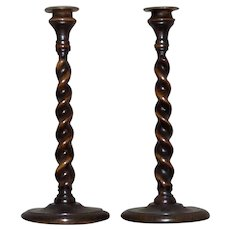 Pair of Late 19th Century Oak Barley Twist Candlesticks