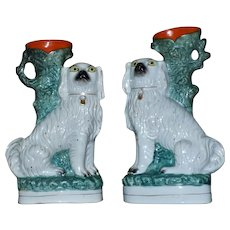 Pair of Large 19th Century Staffordshire Comforter Spaniels with Spill Vases