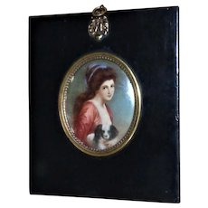 19th Century Continental Portrait Miniature of a Young Lady with Her Pet Dog