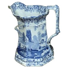 Very Large and Impressive Early Victorian Staffordshire Blue and White Transfer Two-Handled Jug