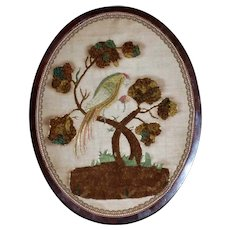 Early Victorian 19th Century Silkwork of Parrot in Oval Frame