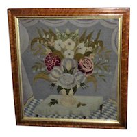 Rare Early Victorian Woolwork Still Life of Flowers in a Vase