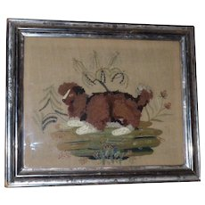Rare Early 19th Century Woolwork Embroidery of a Spaniel