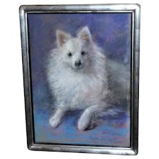 Pastel Portrait of a Pomeranian Dog by Marguerite Dielman