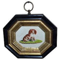 Rare Early Victorian 19th Century Embossed Watercolor of a King Charles Spaniel Puppy in Original Gold-Leafed Frame