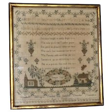 Silkwork Sampler Worked by an 8-Year-Old, Dated 1844