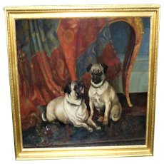 Large Painting of Two Pugs in an Interior, by Henry Frederick Lucas Lucas
