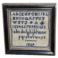 Rare Miniature Alphabet Sampler Dated 1859