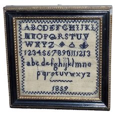 Rare Miniature Alphabet Sampler Dated 1859