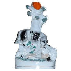 "Mid-19th Century Staffordshire ""Rescue Dog"" and Child Spill Vase"