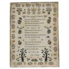 Early Victorian (c. 1840) Motif and Verse Sampler