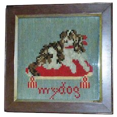 Victorian Miniature Woolwork of King Charles Spaniel on Cushion